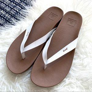 Reef white flip flop sandals beach cruise attire